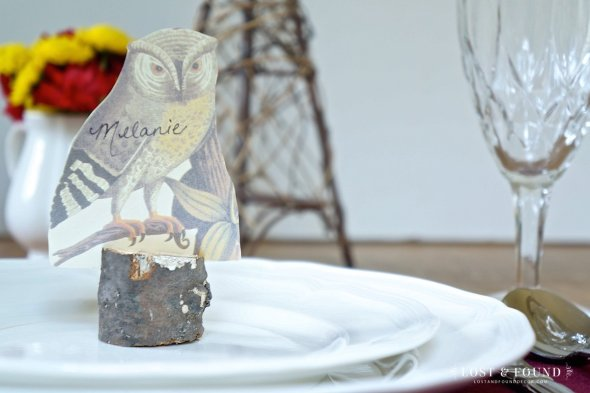Make your own rustic place cards with free owl printable