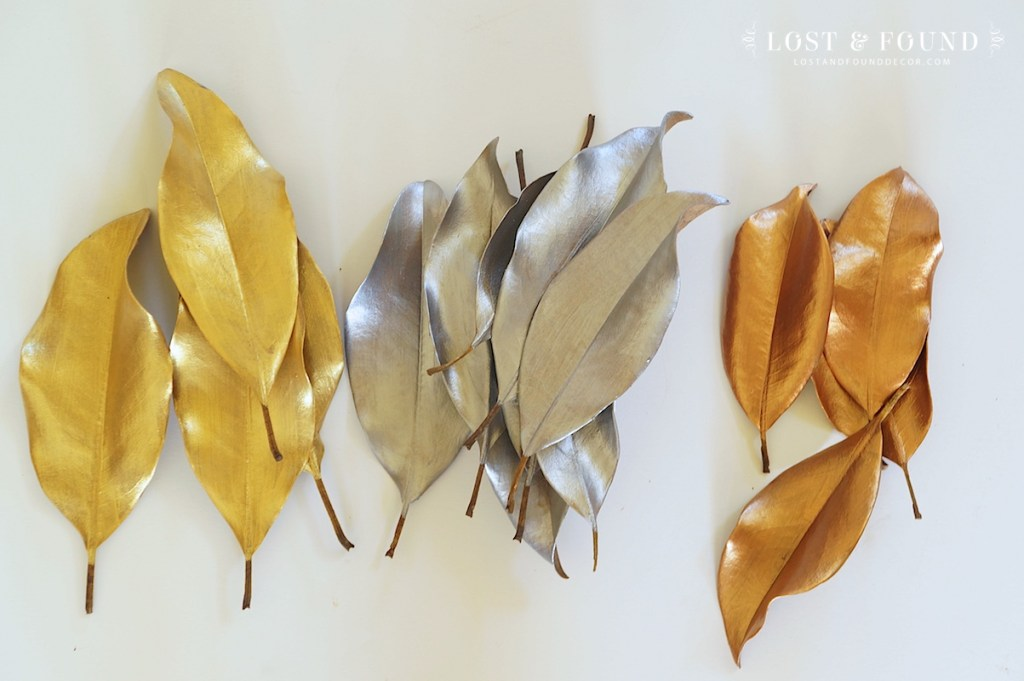 magnolia leaves painted in metallic paint