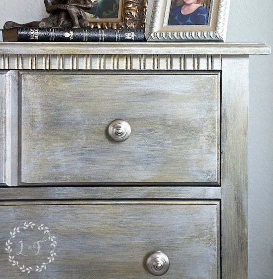 Fusion Mineral Paint metallic painted nightstand
