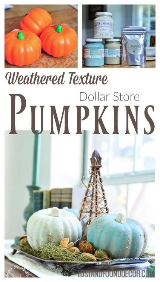 dollar-store-pumpkins-painted-with-weathered-texture-finish