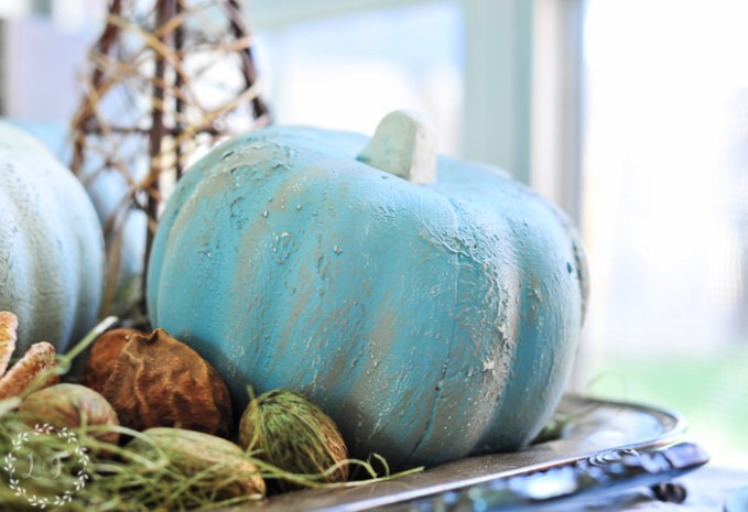 how-to-paint-dollar-store-pumpkins-blue-paint