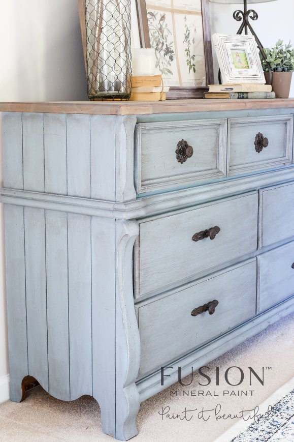 The above piece was painted in Fusion's Champness and topped with the  Espresso Wax. All of its curves and trims are accented by the dark wax,  which really ... - When And How To Use Antique Glaze Or Dark Wax On Your Painted