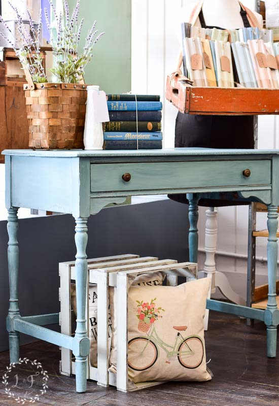 Writing desk makeover with mms milk paint kitchen scale for Fusion kitchen plano