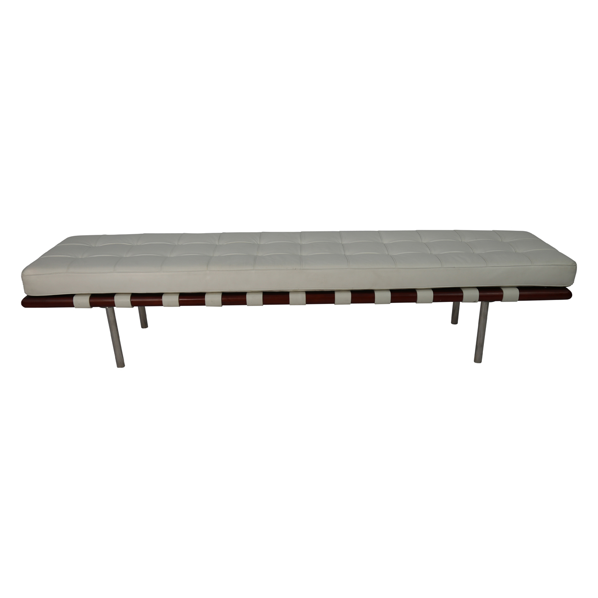 Mid Century White Leather Barcelona Bench In Style Of Mies Van Der Rohe Bk