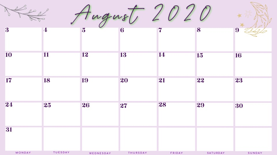 Monthly Calendar August 2020 free printable