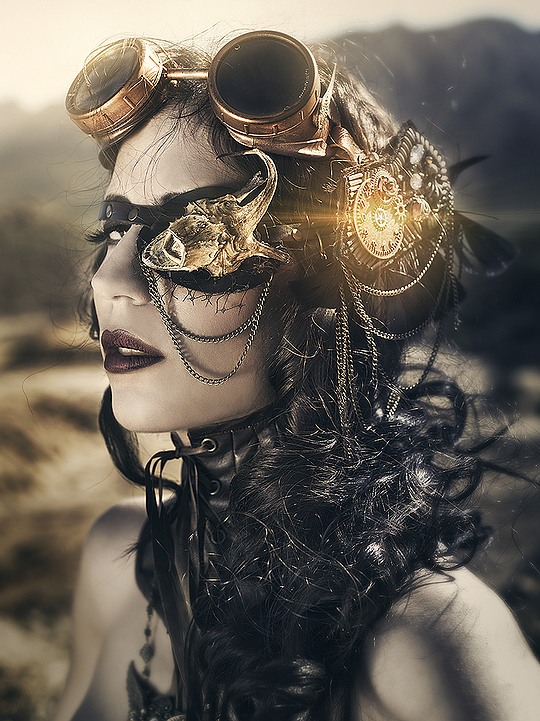 Steampunk magic technology woman