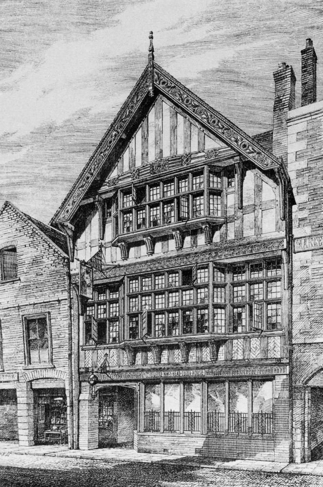 Wattle and Daub, timber framed house with Lime plaster covering the walls Drawing of Little Nag's Head Cocoa House in 1877