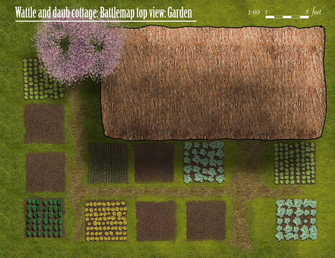 Medieval village buildings: Cottage top view with garden