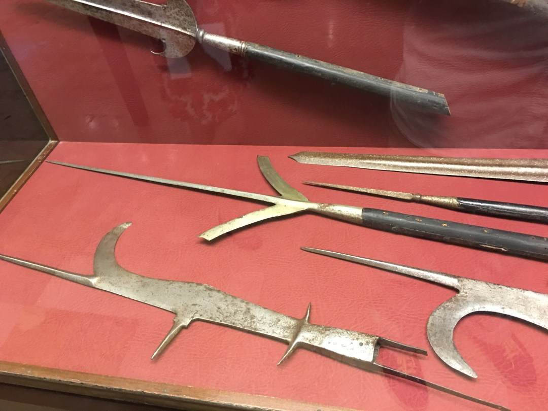 Polearms case from the Grand Master's Palace Exhibition in Valletta, Malta