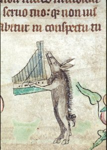 Medieval singing dancing and playing an instrument pig