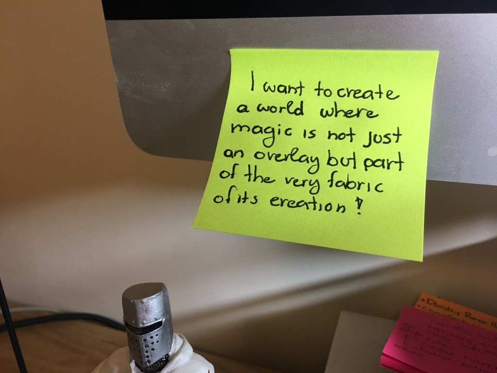 Worldbuilding motivation concept post-it