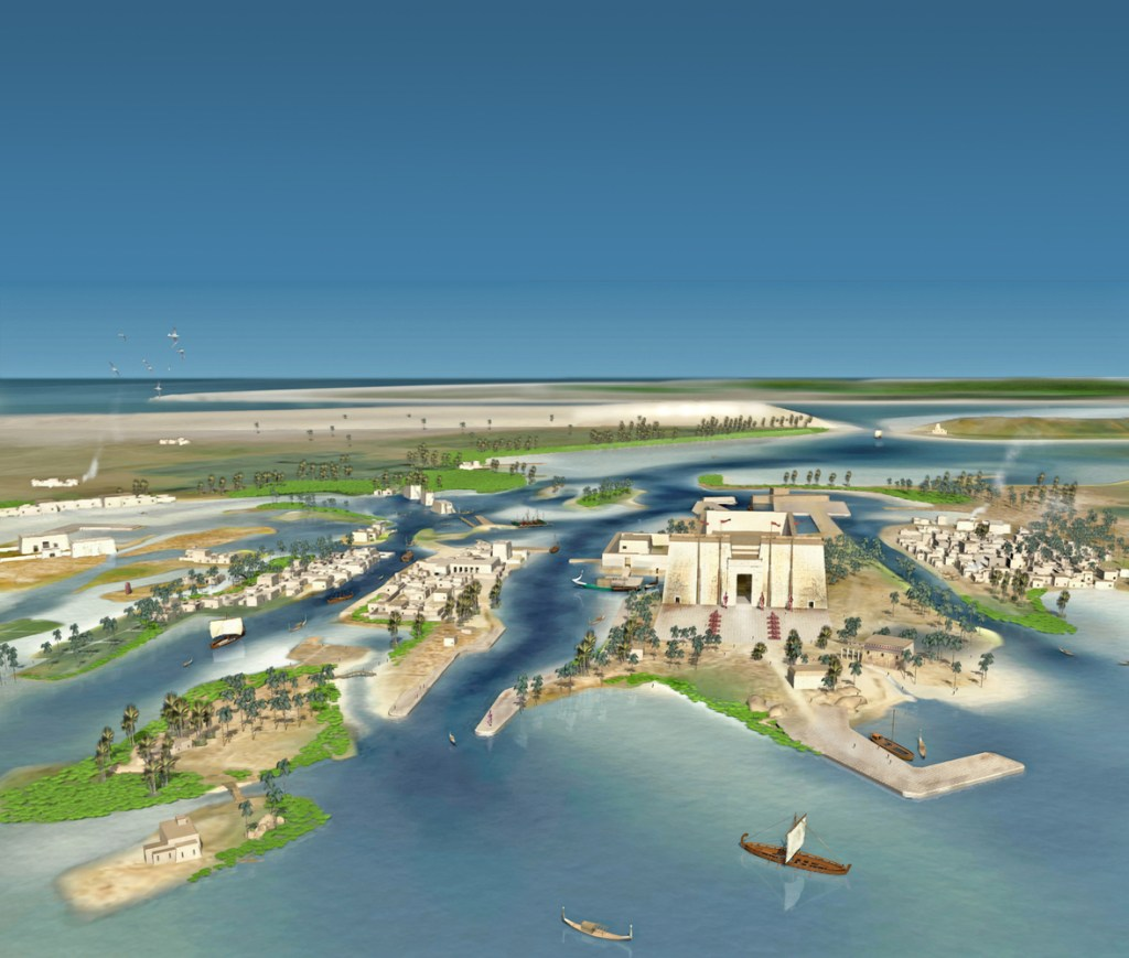 Reconstruction of Thonis Heracleion as it was before becoming a sunken cities