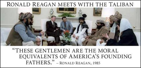 Reagan meets with Taliban heroes