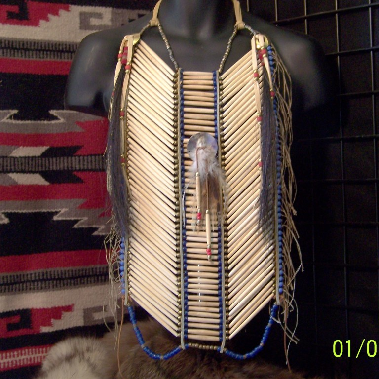 Bone Hairpipe Breastplate With Abalone Shell Disc Lost