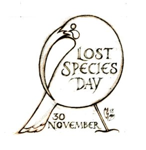 Pencil image of an extinct huia bird with the text 'Lost Species Day November 30' written on it.