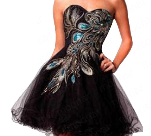 Ladies-Sexy-distinctive-embroidery-peacock-pattern-beading-black-Strapless-evening-party-dress-Cocktail-Dresses-LF135