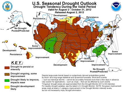 US seasonal drought outlook August 2012
