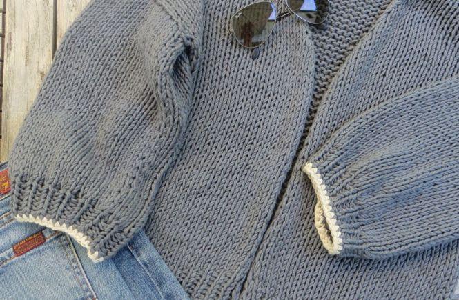 Luna Cardigan - Einfach Sommer Strickjacke mit Häkel Umrandung