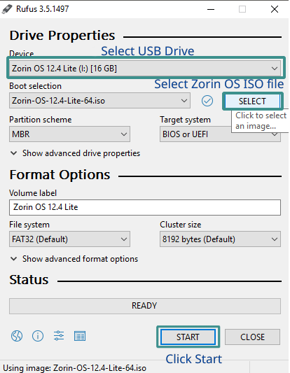 Creating a bootable drive using rufus
