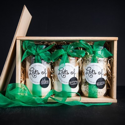 Cookie Ingredients Giftset 3 Jars in Wooden Box Buy Online
