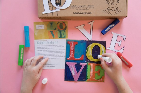 LoLa Let There Be Love Art and craft boxes for children inspired by Robert Indiana