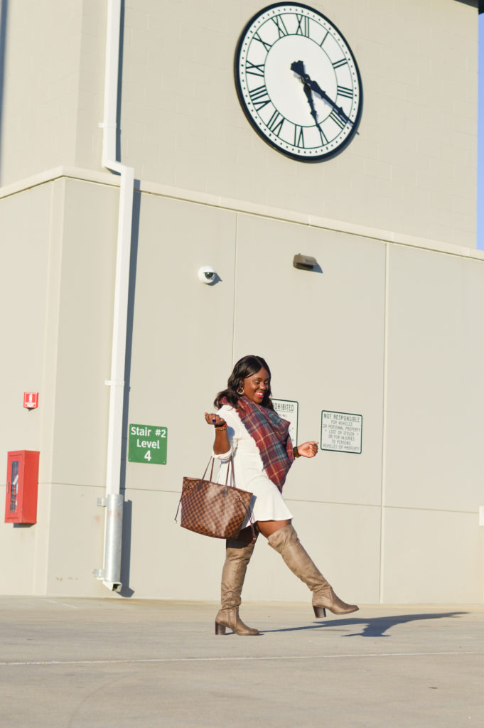 sweater dress-blanket scarf-over the knee boots-LV purse-how to wear white