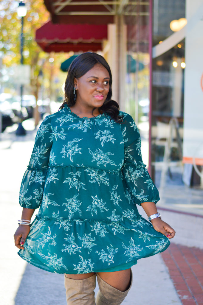 Green pattern dress over the knee boots david yurman kate spade north carolina blogger greenville blogger black girls who blog