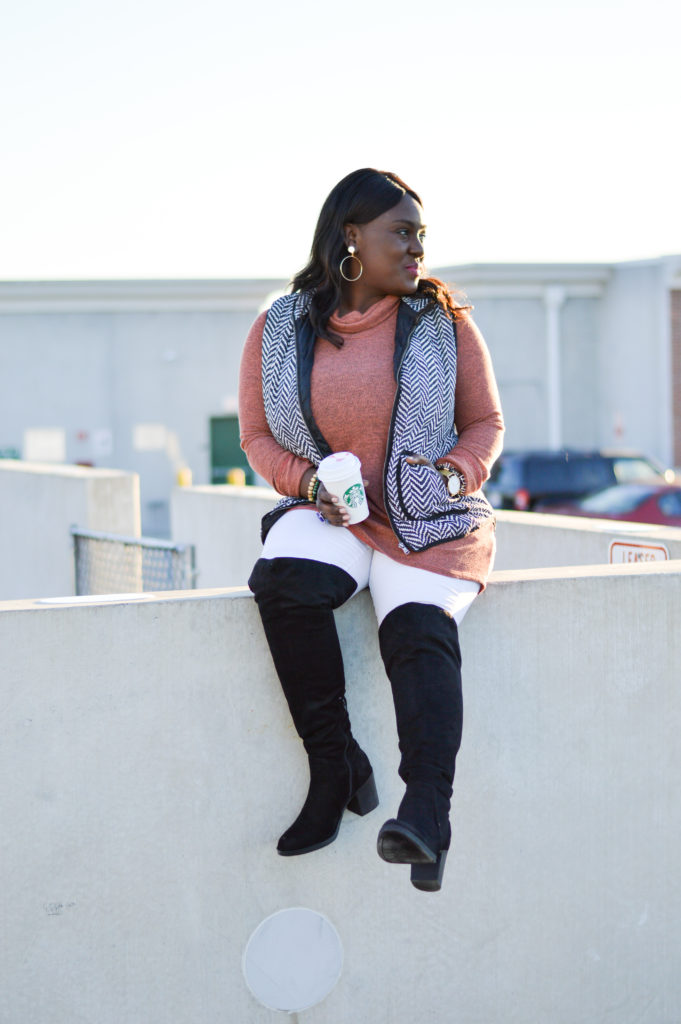 Herringbone Vest Ruse Cowl Neck Sweater White Jeans Over The Knee Boots Gold Hoop Earrings