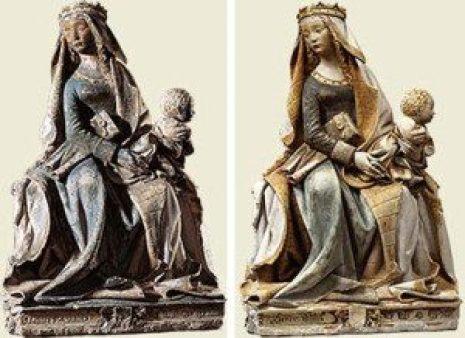 restoration before and after Madonna Artwork
