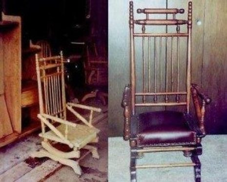 restoration before and after stickley wood chair