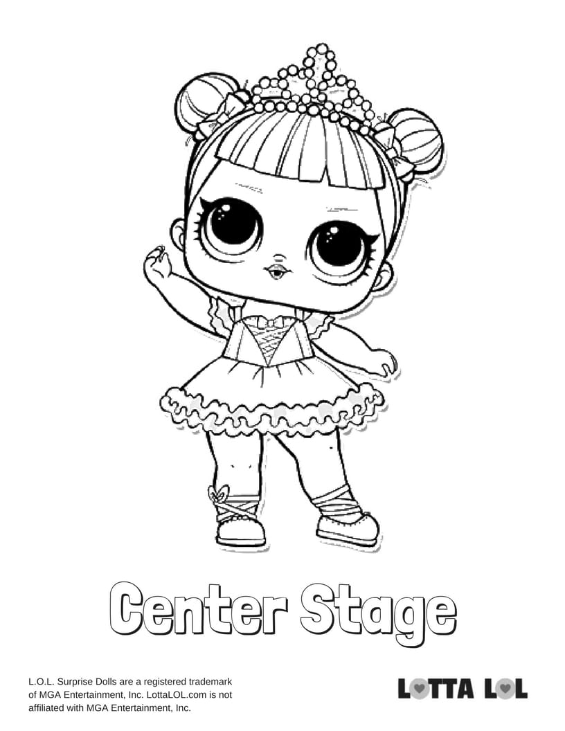 Center Stage Lol Surprise Doll Coloring Page Lotta Lol