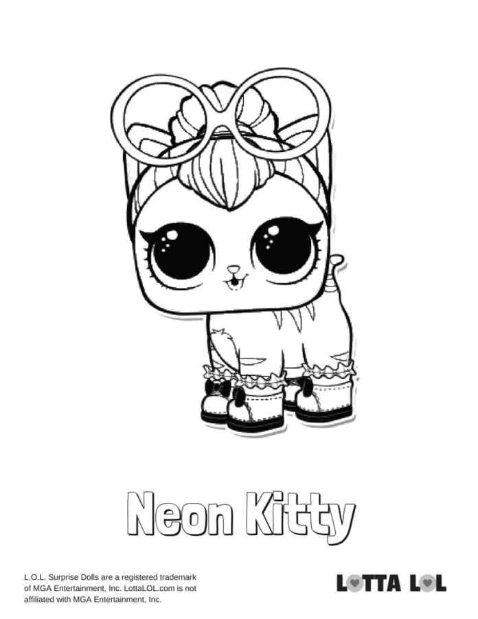 Neon Kitty LOL Surprise Doll Coloring Page | Lotta LOL
