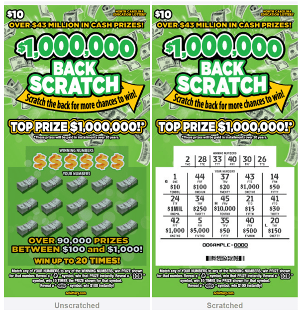 How to play new scratchie lottery game Back Scratch in North Carolina?