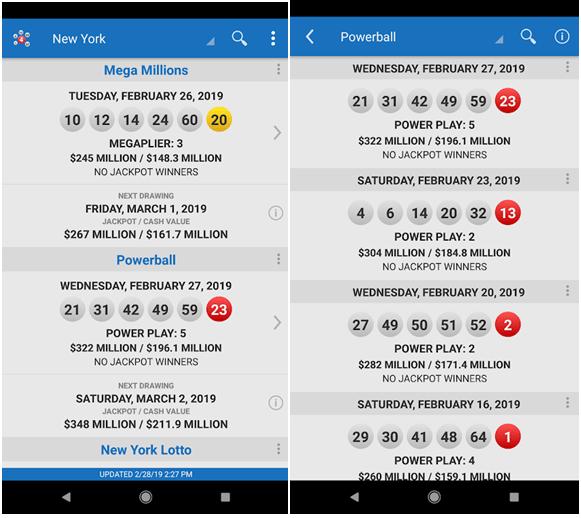 Lottery jackpot app