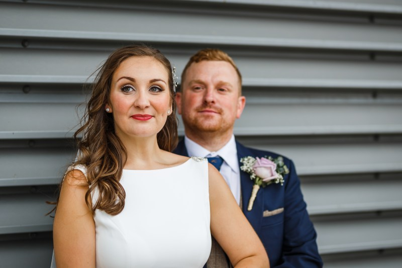 Bride and Groom in Media City, Salford