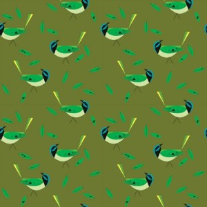 Birch Fabrics - Charley Harper - Green Jay