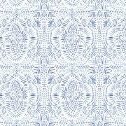 Camelot Fabrics Indigo Rose Medallion in White