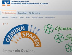 Screenshot von der Webseite vom Gewinnsparverein der Volksbanken und Raiffeisenbanken in Sachsen
