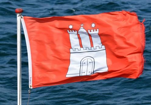 Hamburg Wappenzeichen auf Fahne
