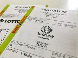 Westlotto Quittung mit Kundenkarten-Hinweis