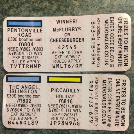 Mcdonalds monopoly prizes free attraction pass