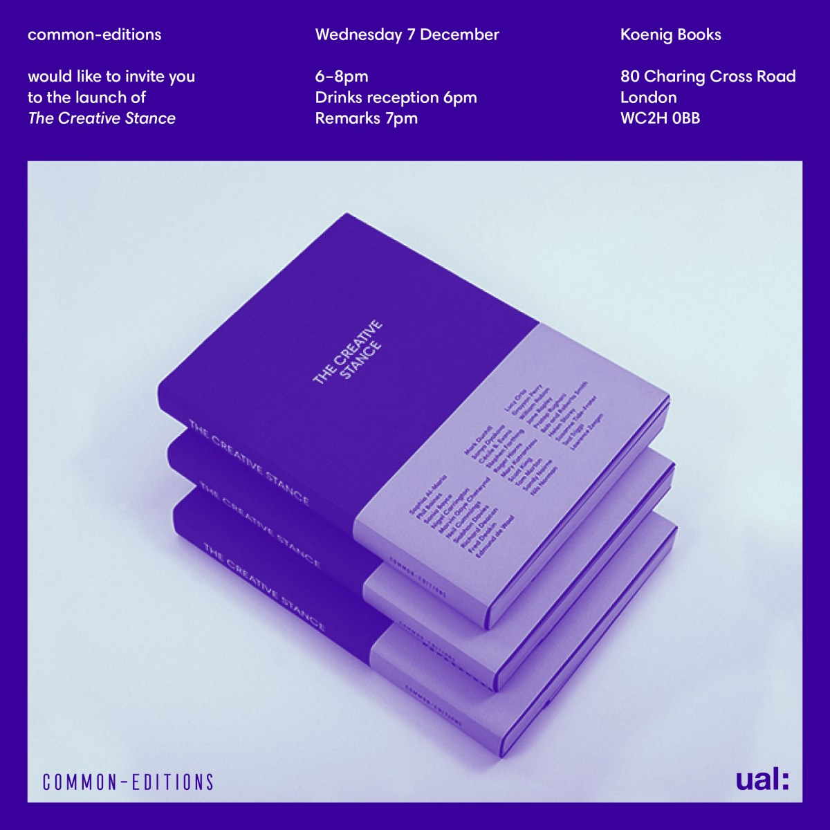 """Launch of a collection of essays """"The Creative Stance"""", a UAL & commons-edition 7 Dec 2016"""