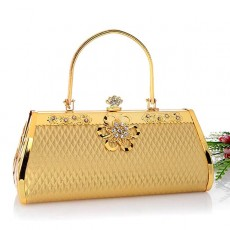 กระเป๋าคลัชออกงาน กระเป๋าถือผู้หญิงแฟชั่นเกาหลีเข้าชุดราตรีงานแต่ง นำเข้า ลายรังผึ้งสีทอง - พร้อมส่งAP2549 ราคา1500บาท