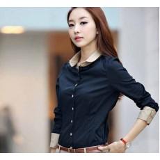 เสื้อเชิ้ต แฟชั่นเกาหลีผ้าชีฟองดีไซน์ใหม่สวย นำเข้า ไซส์XL สีน้ำเงินปกกากี - พร้อมส่งMI530 ราคา890บาท