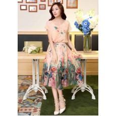 ชุดยาวลายดอกไม้ ใส่ไปงานแต่งงานแฟชั่นเกาหลี ไซส์Mถึง2XL สีชมพู - พรีออเดอร์SJ1368 ราคา2250บาท