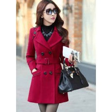 เสื้อโค้ท กันหนาวผ้าวูลหนาแฟชั่นเกาหลีตัวยาวดีไซน์แจ็คเก็ต นำเข้าไซส์Mถึง3XLสีแดง - พรีออเดอร์SJ1383 ราคา2390บาท
