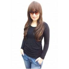 เสื้อยืดแขนยาว แฟชั่นเกาหลีผู้หญิงดีไซน์ใหม่น่ารักใส่สบายเข้ารูป นำเข้า ฟรีไซส์ สีดำ - พร้อมส่งTJ7466 ราคา450บาท
