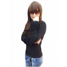 เสื้อยืดแขนยาว แฟชั่นเกาหลีผู้หญิงดีไซน์แขนพวงกระดิ่งหรูสวมเข้ารูป นำเข้า ฟรีไซส์ สีดำ - พร้อมส่งTJ7467 ราคา550บาท