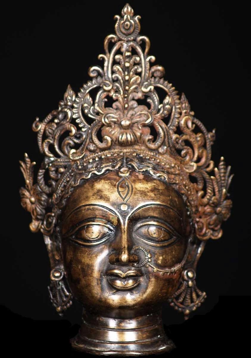 SOLD Bronze Durga Head With Crown 10 54b56 Hindu Gods