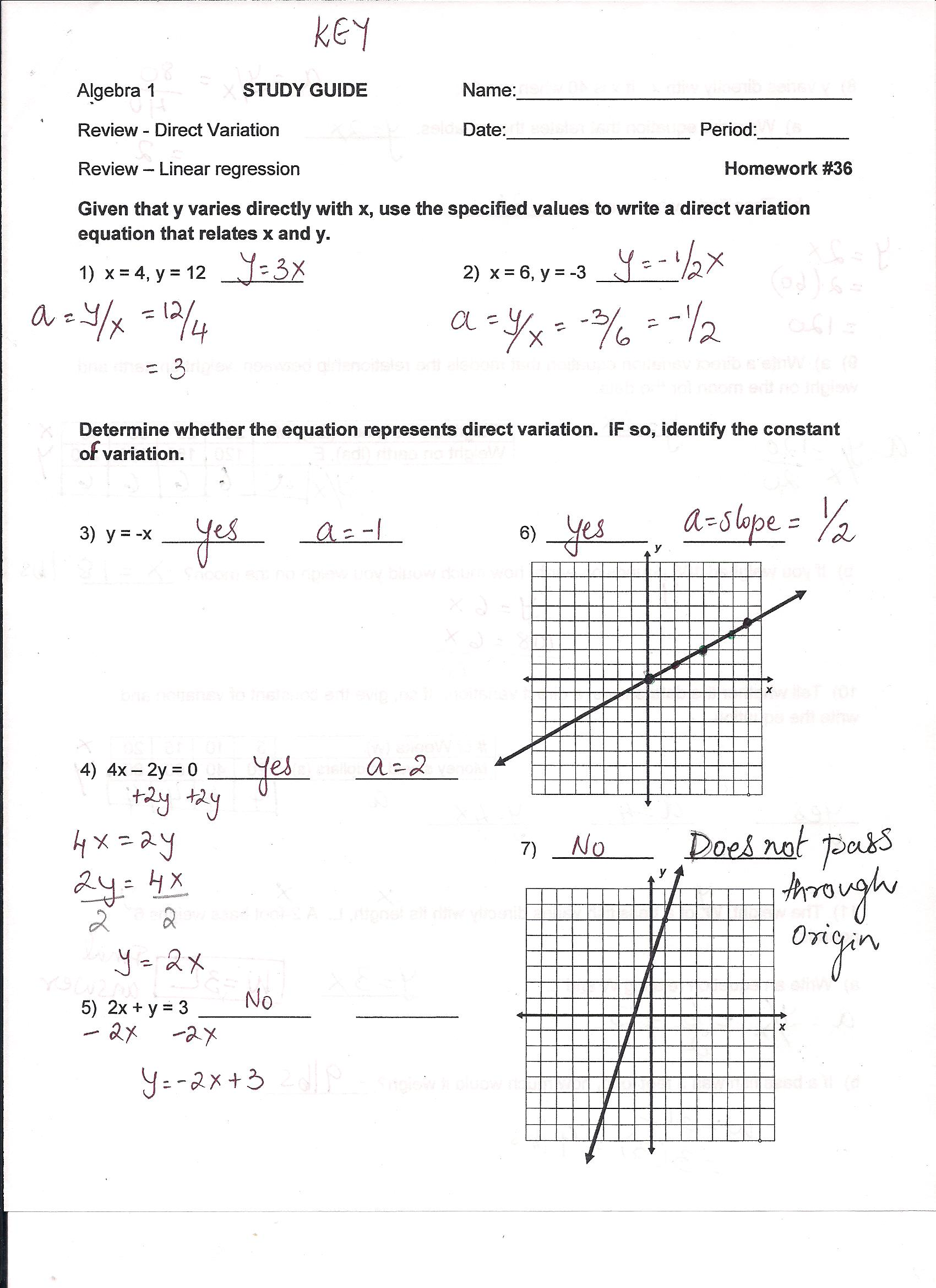 Linear Equations Study Guide Answer Key